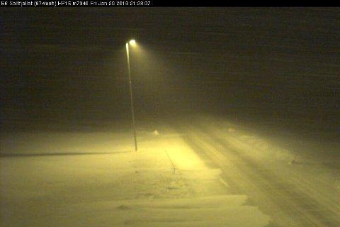 Slik ser det ut på Saltfjellet fredag kveld.