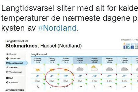 FORSKJELL: Enkelte steder på kysten av Nordland viser værvarselet på yr.no en kraftig økning. Skjermdump fra Twitter