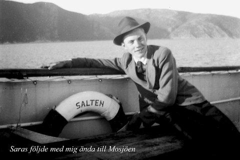 Følgesvenn: Saras fulgte Eskil til Mosjøen før Eskil tok toget videre sørover.