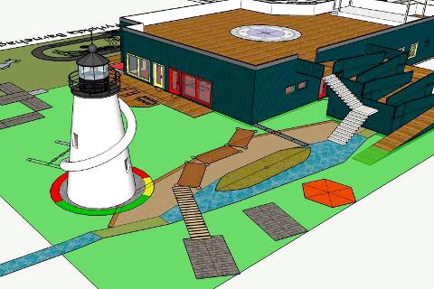FORNØYELSESPARK: Skissene til den planlagte barnehagen i Dønna minner mere om enn fornøyelsespark enne en barnehage. SKISSE: Torsjon AS