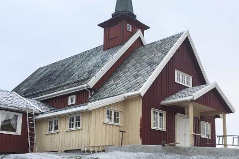 UTVIDET: Bleikvassli kirke er nå utvidet med et nytt våpenrom til to millioner kroner. Foto: Per Øyvind Eriksen