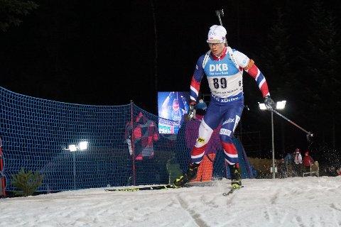 Fredrik Gjesbakk startet sent i løpet, og endte til slutt på 92. plass i sin verdenscupdebut i Nove Mesto.