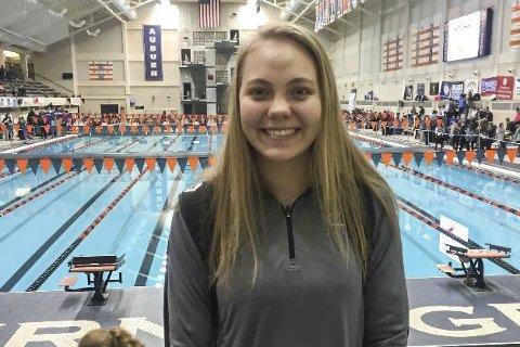 I USA: Ranværingen Karen Falch Larsen har trent svømming i USA som utvekslingsstudent for andre år på rad.