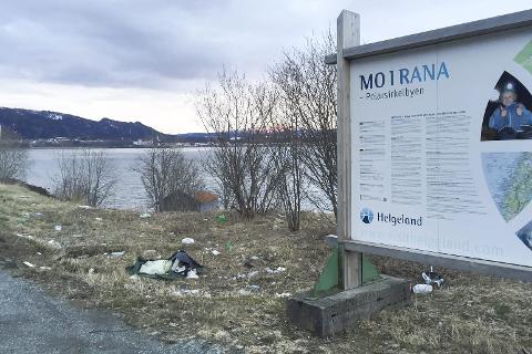 «SØPPELPLASS»: Slik ser det ut på rasteplassen langs FV 12 ved Båsmosjyen. Infotavlene skal vise besøkende hva Polarsirkelbyen har å by på, det skal ikke søppelet. Foto: Hugo Charles Hansen