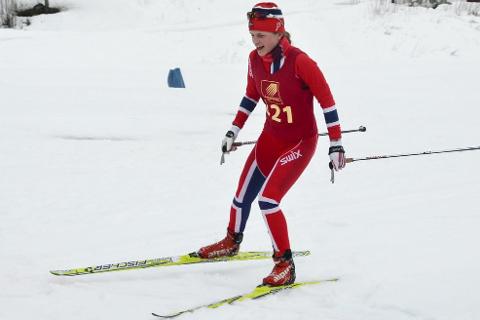 FØRST I MÅL: Anette Stien Schreiner, B&Y IL, i Skjerperrennet søndag.