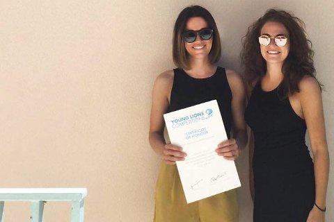 Designere: Kristina Fagerli Nyjordet (t.h.) og Sofie Apelseth Platou bemerket seg i designkonkurranse i Cannes.