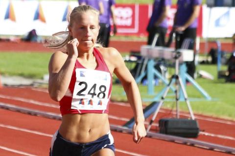 Helen Alterskjær Strand fra Rana friidrettsklubb viste gode takter i senior-NM. Foto: Privat