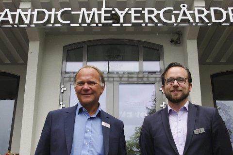Byr inn til fest: Hotelldirektør Ove Bromseth og hotellsjef Ruben Nilsen Robertsen ved Scandic Meyergården ser fram imot å lage sykkelfest under ARN. FOTO: Trygve Ulriksen Skogseth