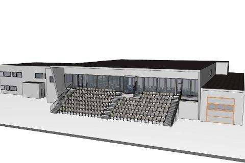 NY TID: Med store vinduer ut mot kunstgressbanen og tilbygget utetribune, kommer den nye flerbrukshallen ved Ytteren stadion til å bli et viktig samlingssted for idretten. skisse: Stein HAMRE ARKITEKTKONTOR