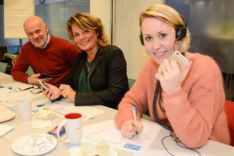 Rektor Thomas Skonseng ved Polarsirkelen videregående skole, daglig leder Marit Øvermo i Din Personalpartner og daglig leder Birgitte Skjefstad ved Adecco var tre av rundt 40 nærngslivsledere i Rana, som i løpet av en time ringte inn 520.000 kroner til TV-aksjonen. Det ga tidenes rekordbidrag fra næringslivet.