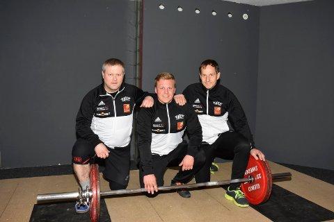 NM-KLAR: Jan-Roger Johansen (t.v.), Gabriel Mjelle og Morten Rygh? deltar i NM i styrkeløft i Bergen. Foro: Rana KK
