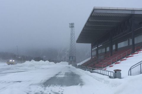 Sagbakken stadion har ikke alt utstyr på plass for å ha undervarme, og det kommer ikke på plass foran denne vinteren.