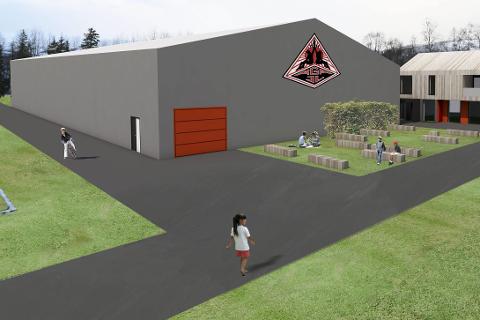 NY HALL: Slik ser Åga ILs planlagte minihall ut i nordenden av fotballbanen på Hauknes. Nytt klubbhus er ikke tenkt bygd nå. Illustrasjon: Stein Hamre Arkitektkontor