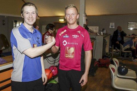 DUELL: Marius Kvitnes (t.v.) og Rana bowlingklubb skal møte Trondheim Bk og sandnessjøværingen Mathias Reinertsen.