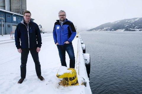Turister: Stig Johansen i Polartours og Øystein Lorentzen i Mo i Rana havn gjør seg klare for å ta imot flere hundre cruiseturister fra 2019, og ber næringslivet trå til med kreative ideer. Foto: Øyvind Bratt