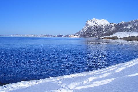 Fra Sørfjorden i Rødøy en vakker vinterdag.
