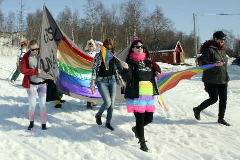 FJERDE GANG: Hemavan Winter Pride ble arrangert for fjerde gang. Bildet er fra et tidligere arrangement. Foto: Arne Forbord