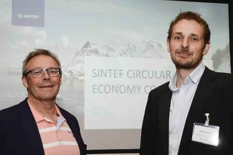 SMARTERE: Forskningsdirektør Jack Ødegård og prosjektleder Kjetil Midthun i SINTEF regner med at sirkulær økonomi gradvis vil forandre samfunnet og folks levemåte. Foto: Arne Forbord