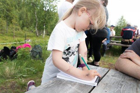 Petrine Langfjell (5) konsentrerer seg for å få alle bokstavene riktig vei når hun skriver seg inn i Til Topps-boka.