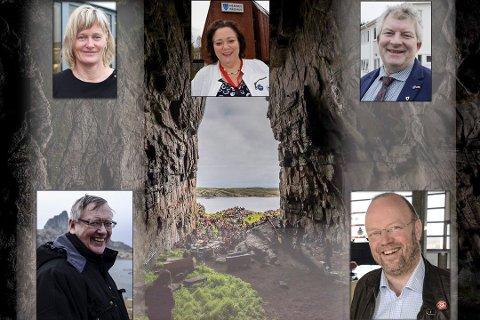 GIFTEKLARE: Oppe fra venstre: Nesna-ordfører Hanne Davidsen (Ap), Hemnes-ordfører Christine Tonne (H), Lurøy-ordfører Carl Einar Isachsen (Sp), Træna-ordfører Per Pedersen (KrF) og Rana-ordfører Geir Waage (Ap).