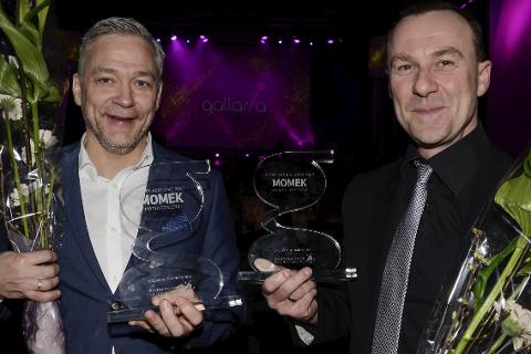 Momek sikret seg kveldens dobbel under Gallaria med to priser. Det liker finansdirektør Lars Loe og prosjektsjef Morten Loftfjell.