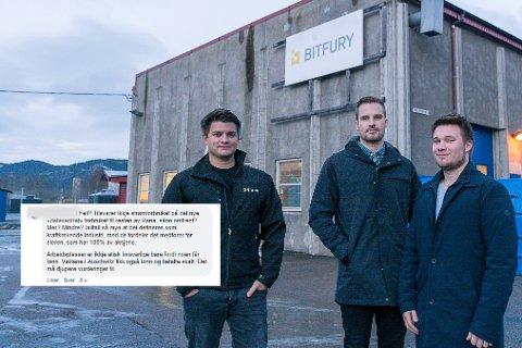 Eirik Solfjeld, Martin Kalkenberg og Thomas Nilssen tar gjerne en diskusjon om blokkjedeteknologi, bitcoin og Bitfury, men syns ikke det er greit å bli omtalt slik de tidvis blir, slik skjermdumpen fra facebook viser.