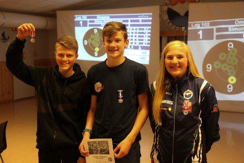 De tre beste i eldre rekrutt, 1. plass Carl Konow, Nesna  349, 2. plass Mats Hjartland, Fagervika  349 og 3. plass Tina Mari Husnes Larsen, Røvassdalen 349