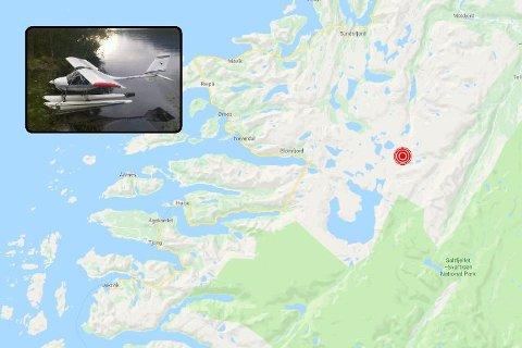 Bildet av flyet som styret, og det røde merket viser området flystyrten har skjedd på Ramnfjellet som ligger helt sørøst i Gildeskål kommune.