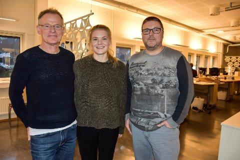 Stein Hamre, Ingrid Stenersen Bjørklid  og Åsmund Rajala Strømnes har til tider arbeidssted både i Rana og på Leknes.