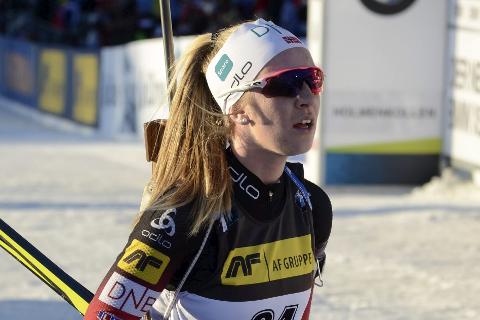 GÅR nm: Emilie Ågheim Kalkenberg, Skonseng UL, tuslet skuffet ut av arenaen i Holmenkollen forrige torsdag. Nå håper hun kroppen er litt mer medgjørlig når det er NM til helga. Foto: Trond Isaksen