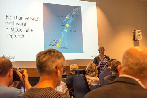 Rektor Hanne Solheim Hansen på styremøtet i Nord universitet på Værnes.