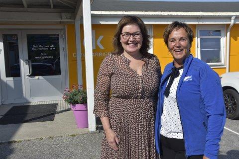 Margunn Ebbesen (t.v.) synes det er trist å oppleve at hun ble vraket fra stortingslista til Nordland Høyre. Her under et besøk ved Driv karriere i Rana sammen med leder Anita Sollie fra Rana Høyre.