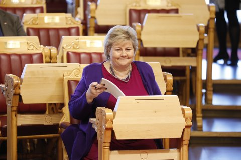 Statsminister Erna Solberg under den muntlige spørretime på Stortinget onsdag. Foto: Gorm Kallestad / NTB scanpix