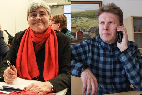 Grane-ordfører Ellen Schjølberg og Hattfjelldal-ordfører Harald Lie.