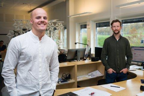 F.v. Morten Hammersmark Olsen (28) og Martin Strømstad er ansatt i Stein Hamre Arkitektkontor as.