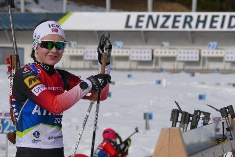 Junioren Marthe Kråkstad Johansen, B&Y IL, var reserve til senior-EM i skiskyting. Nå får hun sjansen i to av konkurransene. Foto: Jan Erik Johansen