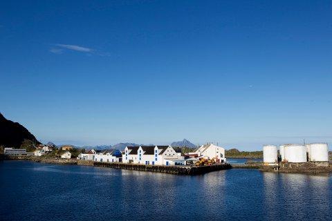Stamsund på Vestvågøy i Lofoten i vakkert sommervær. Nesten skyfri blå himmel over fiskeværet. Foto: Håkon Mosvold Larsen / Scanpix