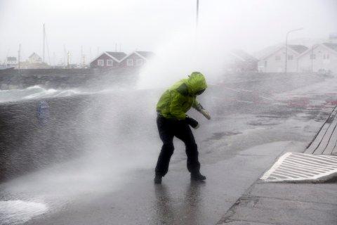 VIND: Det er ventet liten til full storm i Nordland mandag. Den verste vinden kommer nord i fylket. Bildet er tatt under et uvær i Bodø i 2015.