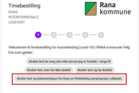 Rana kommunen åpner for at man kan bestille test for å få dokumentasjon man trenger for å krysse grensen til Sverige.