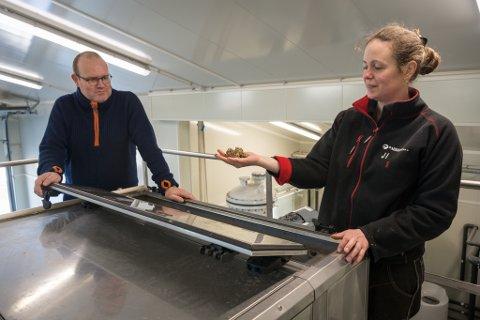 Driftsteknikerne Odd Valrygg og Joanne Isaksen viser hvordan avfallet ser ut omtrent halvveis i prosessen fra skittent vann til knusktørt stoff.