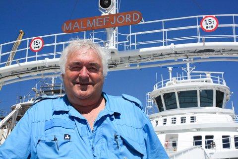 Trond Arne Jamtli (64) har i år sommerjobb som overstyrmann for å frakte ei ferje hjem fra et verft i Tyrkia til Molde for rederiet Boreal. Denne jobben fikk pensjonisten etter 30 år til sjøs som sjømann. Foto: Privat