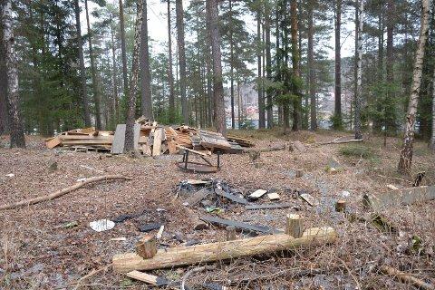Saget ned: Gapahuken som har stått i skogholtet mellom Kongsvegen og Tiurvegen skal ryddes bort.