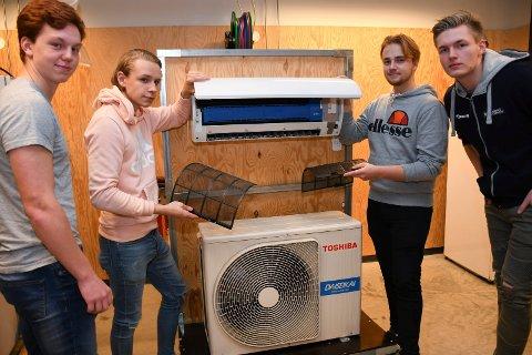 Even Karlsen (f.v.), Marcus Dalen, Sigurd Aarkvisla og Isak Aastebøl har startet ungdomsbedriften Klimanord og vil gi overskuddet til kreftforeningen.