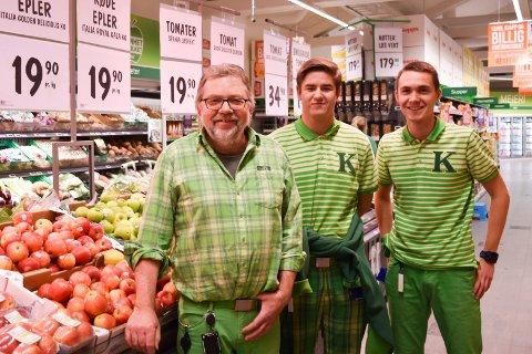 HYTTEFOLKETS FAVORITTER: Fra venstre: butikkeier Aksel Harby, Syver Sønsterud og Lasse Bøverdalen.
