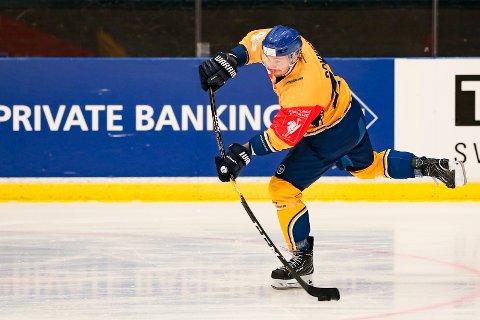 Mikael Dokken ble matchvinner for Storhamar i mjøsderbyet mot Lillehammer tirsdag. Foto: Fredrik Hagen / NTB scanpix