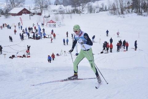 Full innsats: Petter Lunna (G14) fra Brøttum ble nummer fire i Madshus-spriten på Biri lørdag.