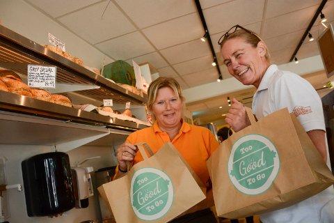 Reduserer matsvinn: Anita Rud Rosenborg (t.v.) og Trude Bergundhaugen hos Baker Kristiansen har hindret at over 5.000 porsjoner mat har blitt kastet.