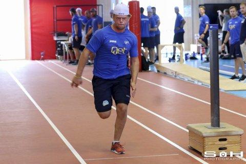 Sterk: Håkon Engh, her i sprinttesten, ble Storhamars sterkeste i knebøy med 190 kilo.