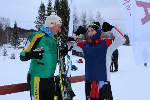 Ragnar Berntsen (77) og Ove Egil Hjellødegård (15) stilte begge til start under årets utgave av Furnesåsen rundt. De synes det er morsomt at det er så stort aldersforskjell mellom de startende.