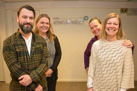 KONFLIKTRÅDET: Fra venstre: Magnus M. Nilsen, Siri Stormoen, Gry Akre Tellum og Marianne Rønningen. Arkivfoto: Cathrine Loraas Møystad
